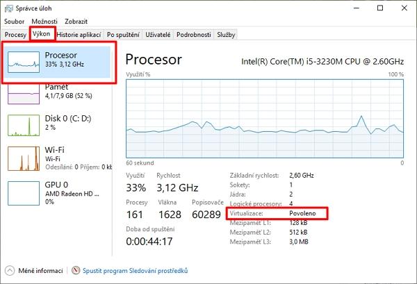 Ve Správci úloh na kartě Výkon pod položkou procesor najdeme položku Virtualizace (Zdroj: Windows 10)