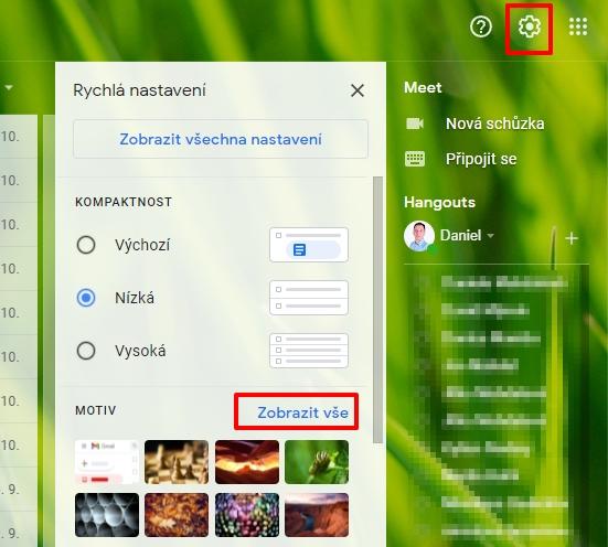 Odklikněte ikonku ozubeného kolečka a v sekci Motiv odklikněte Zobrazit vše (Zdroj: Gmail)