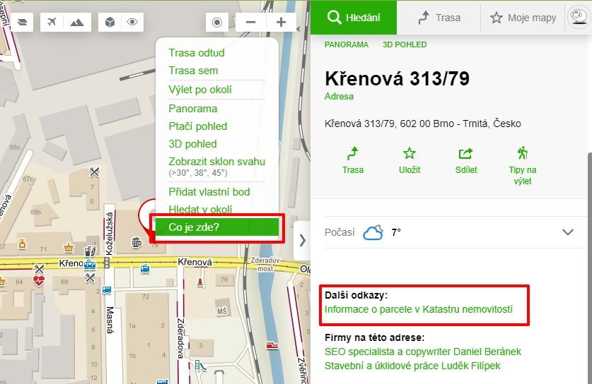Mapy.cz nabízejí přímý odkaz na podstranu požadovaného pozemku v katastru nemovitostí (Zdroj: Mapy.cz)