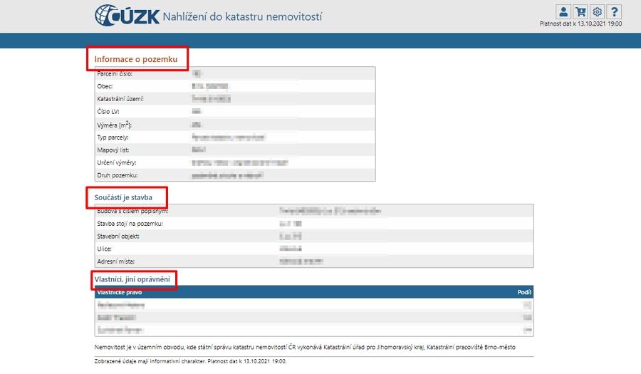V Nahlížení do katastru nemovitostí ČÚZK najdeme informace o pozemku, stavbách a vlastnících (Zdroj: CUZK.cz)