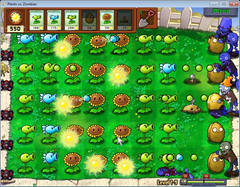 plants vs zombies trávník ve dne