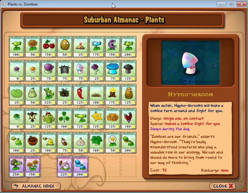 plants vs zombies: almanach rostlinek