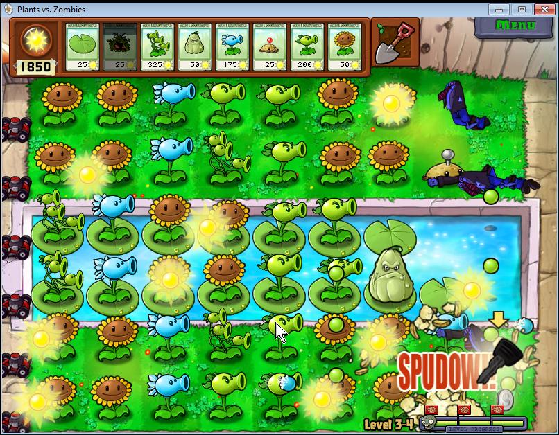 plants vs zombies: bazén ve dne