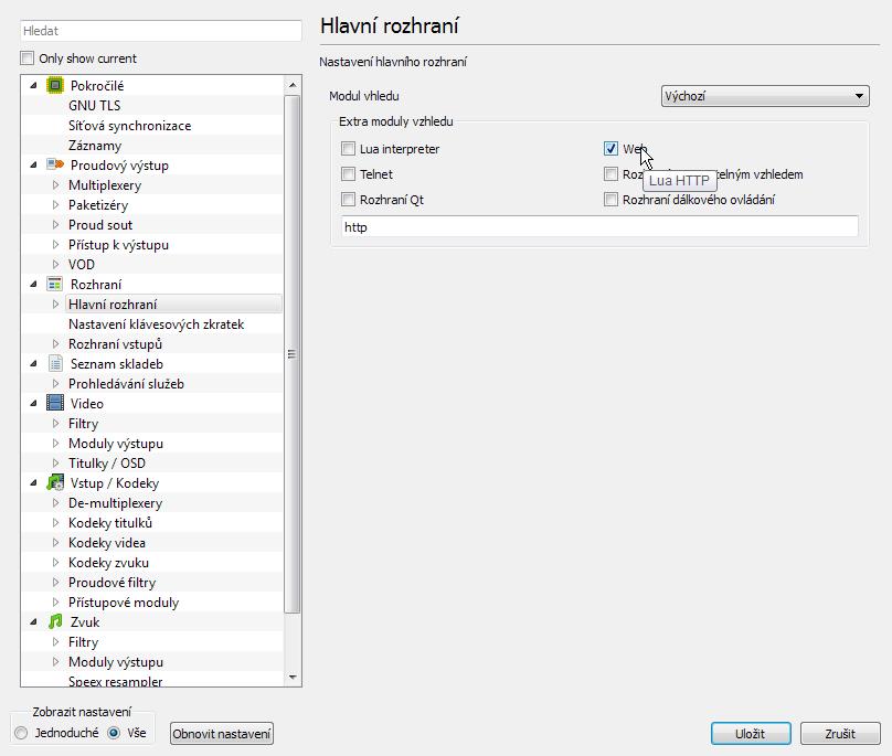 Nastavení rozhraní VLC