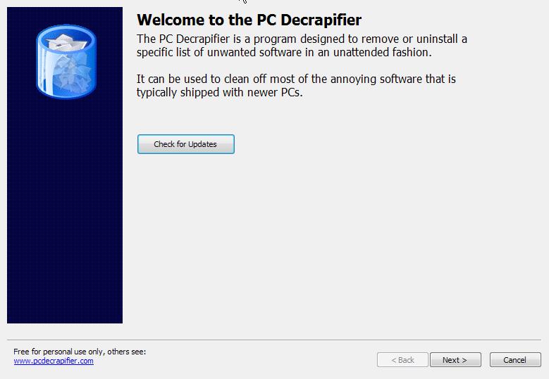 Spuštění PC Decrapifier