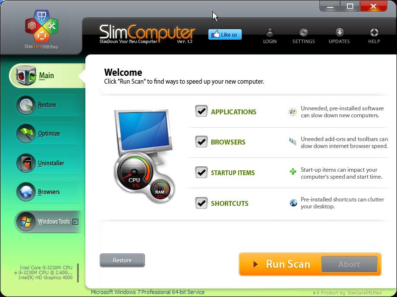 Hlavní obrazovka SlimComputer