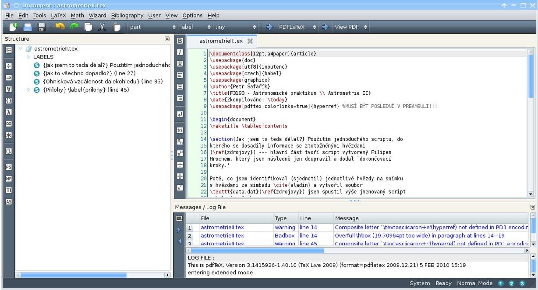 Texmaker, textový editor s nástroji pro vývoj dokumentů s LaTeX