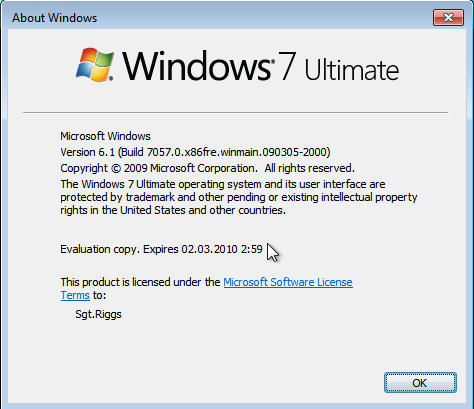 windows 7 ultimate 32 bit copyright 2009 product key