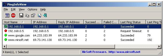 PingInfoView, zjistí ping a IP adresy u více přístrojů