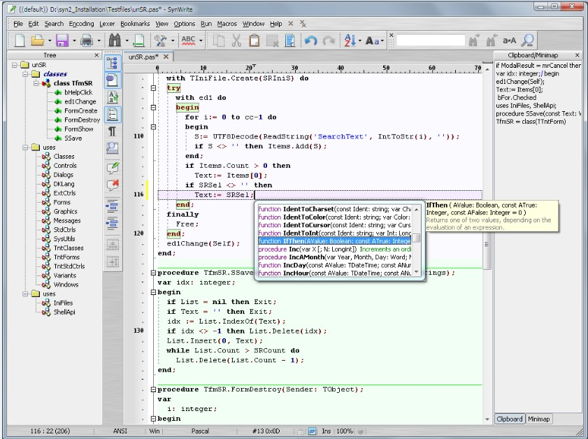 SynWrite Editor, textový editor pro úpravu kódů