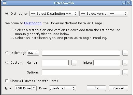 UNetbootion, nabootujte systém z flash disku