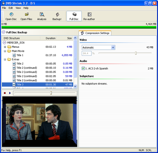 DVD Shrink - zálohování dat na DVD
