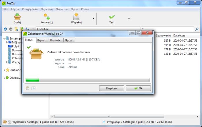 PeaZip - tvorba archivů