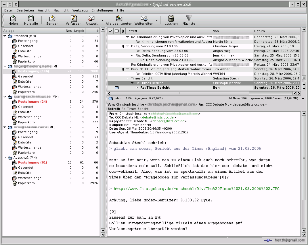 Sylpheed - dokonalý e-mailový klient