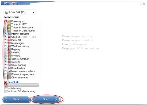 PrivaZer, kompletní vyčištění historie práce s operačním systémem