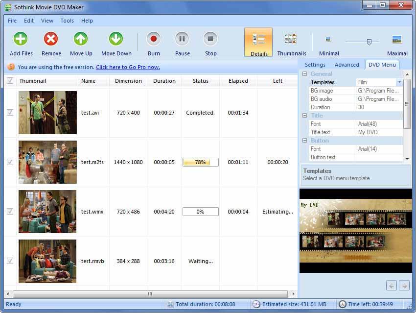 Free Movie DVD Maker - profi tvorba DVD