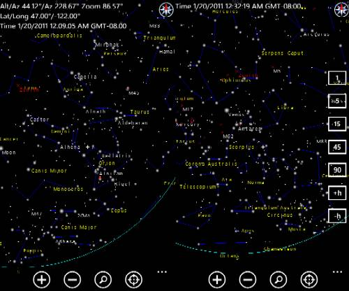 Noční obloha - virtuální planetárium