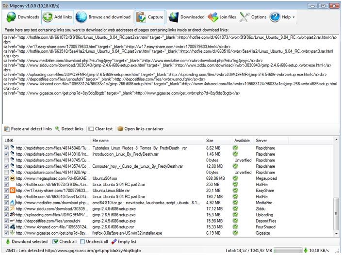 Mipony, automatické stahování souborů z webových úložišť