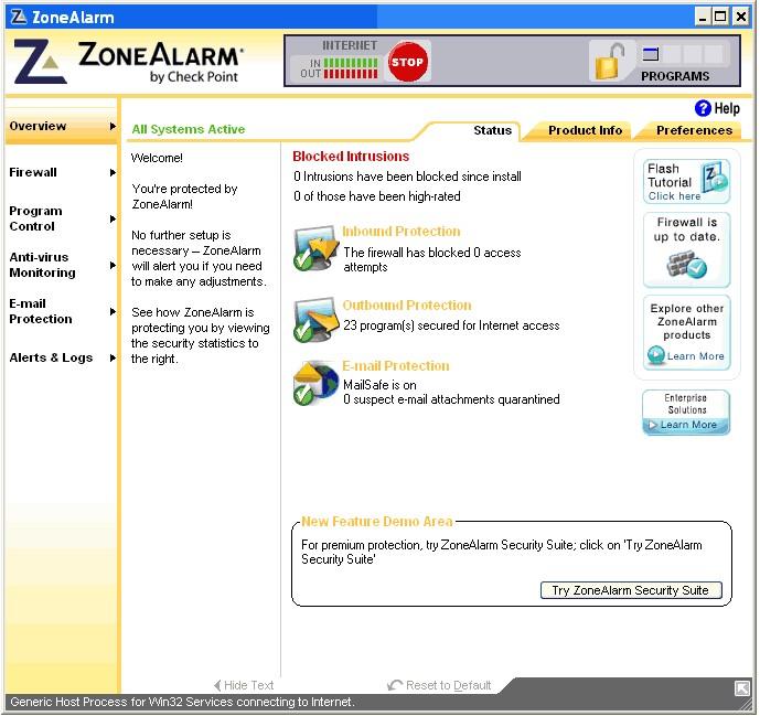 ZoneAlarm, program, který vás ochrání proti útokům z internetu