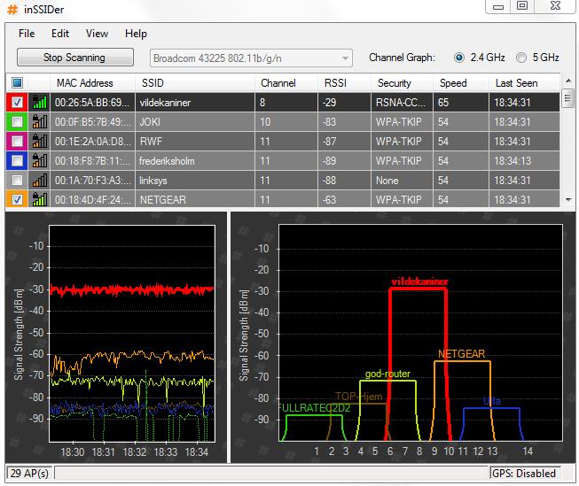 inSSIDer - vyhledáváme WiFi sítě
