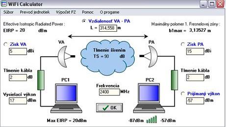 WiFi calculator, výpočet parametrů domácí WiFi sítě