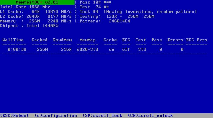 Memtest86+ - test počítačové paměti
