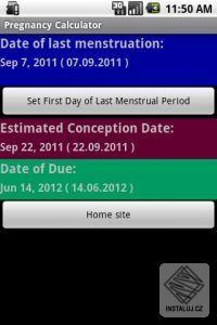 Těhotenská kalkulačka pro Android