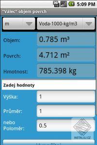 Kalkulačka objemu povrchu hmotnosti těles pro Android